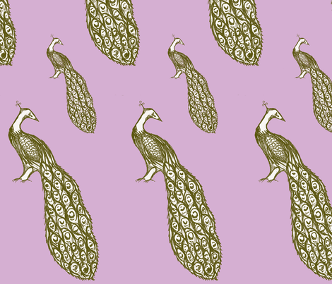 peacock_repeat_lilac-ch fabric by sequingirlie on Spoonflower - custom fabric