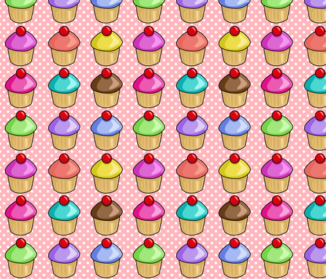 Cupcakes on pink fabric by pixeldust on Spoonflower - custom fabric