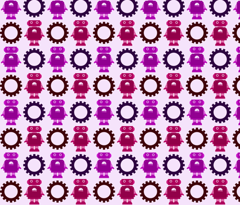 Robot and Gear - Girl - Purple & Magenta fabric by jesseesuem on Spoonflower - custom fabric