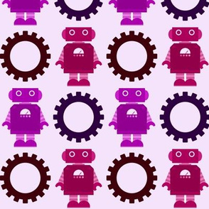 Robot and Gear - Girl - Purple & Magenta
