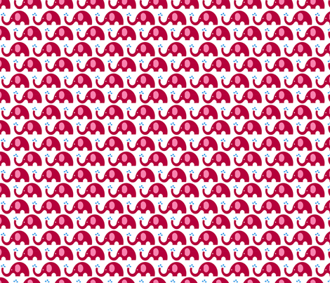 "2"" Elephant Party - red fabric by pixeldust on Spoonflower - custom fabric"