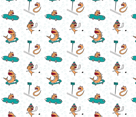 Fish Town  fabric by puncezilla on Spoonflower - custom fabric