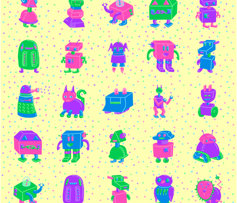 Robot Whole Cloth Baby Quilt fabric by mongiesama on Spoonflower - custom fabric