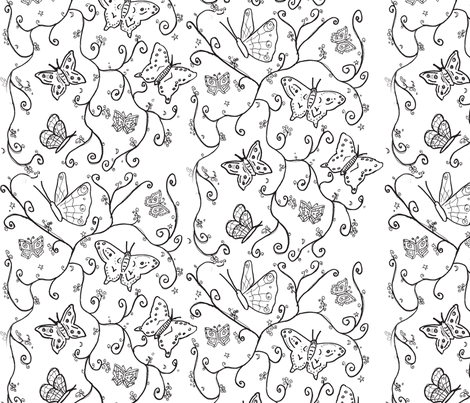 butterfly black swirl fabric by sequingirlie on Spoonflower - custom fabric