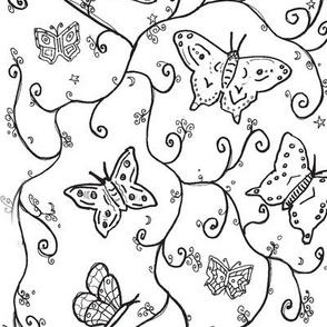 butterfly black swirl