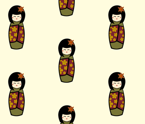 Kokeshi  fabric by kerryone on Spoonflower - custom fabric