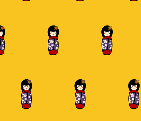 Kokeshi 2 fabric by kerryone on Spoonflower - custom fabric