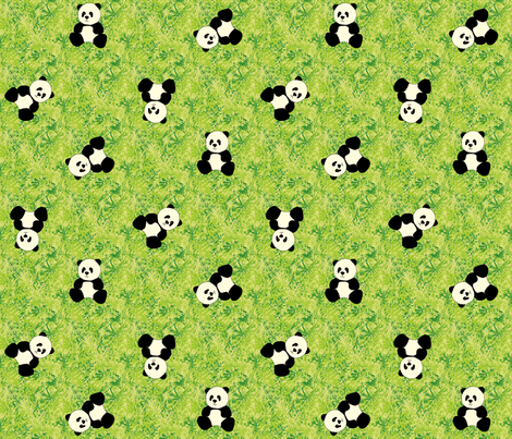 Panda Tumbles - Bamboo Green fabric by inscribed_here on Spoonflower - custom fabric