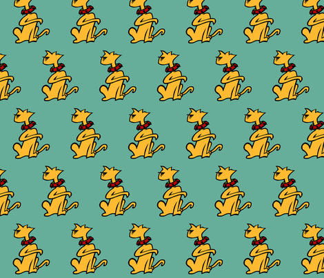 Pretty Kitty on Blue fabric by kerryone on Spoonflower - custom fabric