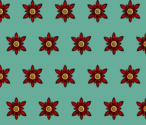 Red Flower on Blue fabric by kerryone on Spoonflower - custom fabric