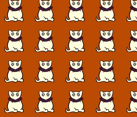 White Kitty fabric by kerryone on Spoonflower - custom fabric