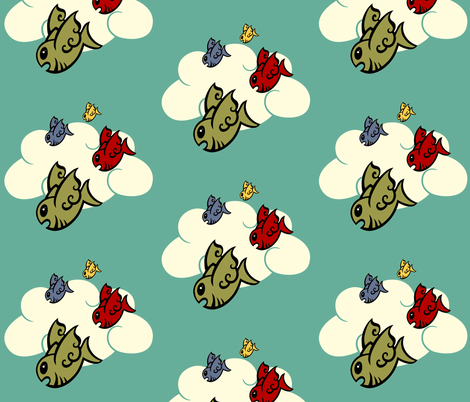 Flock of Burramundi fabric by kerryone on Spoonflower - custom fabric