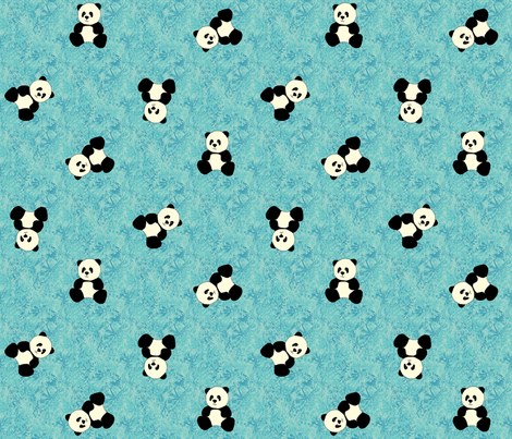 Panda Tumbles - Sky Blue fabric by inscribed_here on Spoonflower - custom fabric