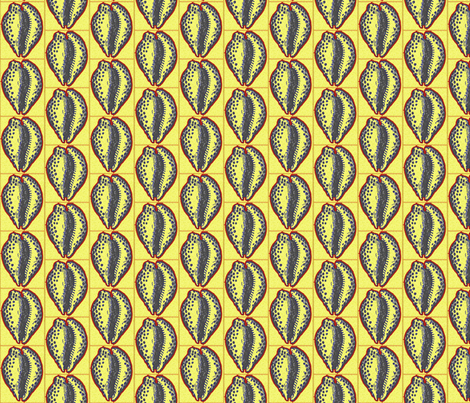Cowrie, yellow fabric by nalo_hopkinson on Spoonflower - custom fabric
