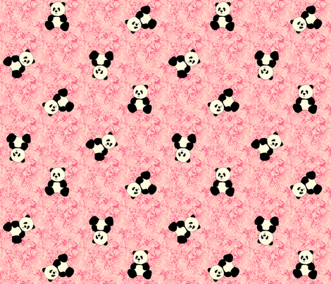 Panda Tumbles - Strawberry Pink fabric by inscribed_here on Spoonflower - custom fabric