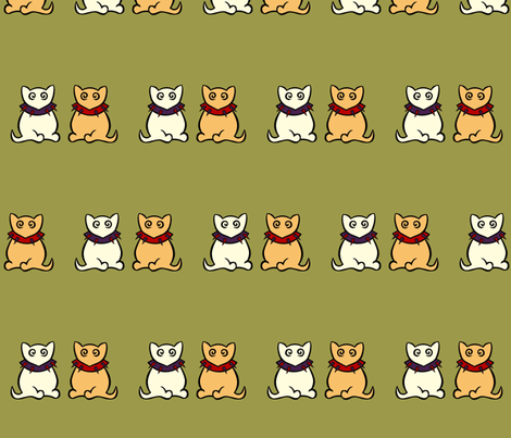 White Kitty & Ginger Kitty fabric by kerryone on Spoonflower - custom fabric