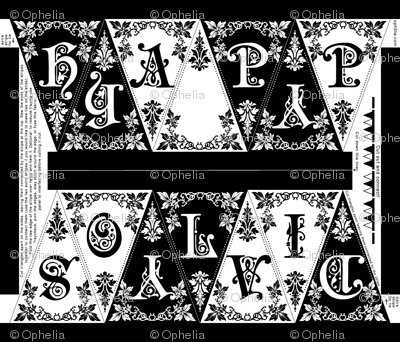 Gothic Happy Holidays Pennant Craft Panel (black/white)
