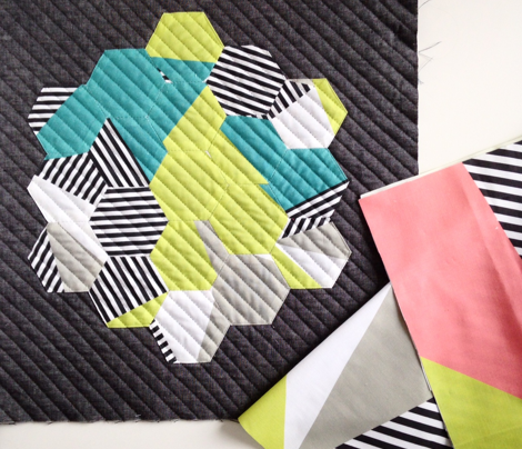 Triangles & Stripes Cheater Quilt- Teal & Acid Green (smaller sized)