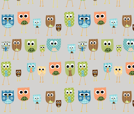 multi_owls fabric by petunias on Spoonflower - custom fabric