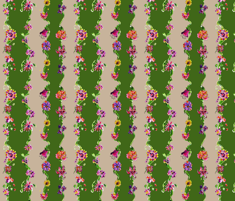Enchanted garden ribbon Green stripe fabric by rosannahope on Spoonflower - custom fabric