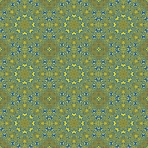 blue and yellow lacey kaleidoscope