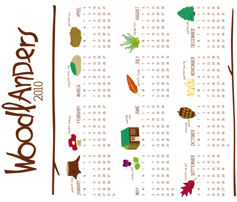 Woodlanders 2010 Calendar fabric by wildolive on Spoonflower - custom fabric