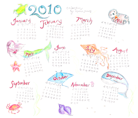 Sea Life Calendar fabric by mochistudios on Spoonflower - custom fabric