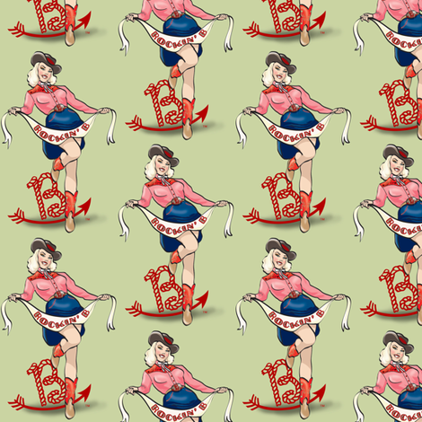 Rockin' B Cowgirl Logo fabric by miss_jess on Spoonflower - custom fabric