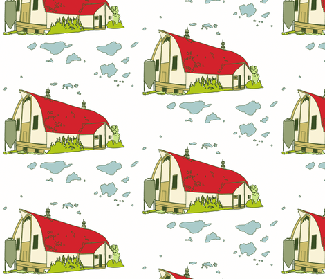red barn fabric by holli_zollinger on Spoonflower - custom fabric