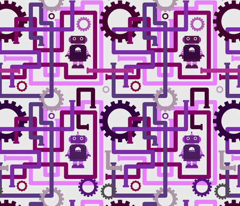 Robots and Pipes - Purples fabric by jesseesuem on Spoonflower - custom fabric