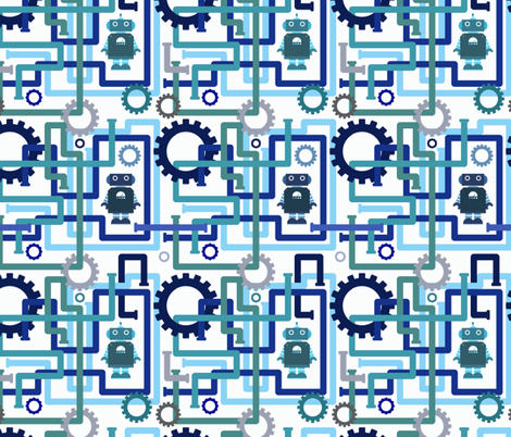 Robots and Pipes - Blues fabric by jesseesuem on Spoonflower - custom fabric