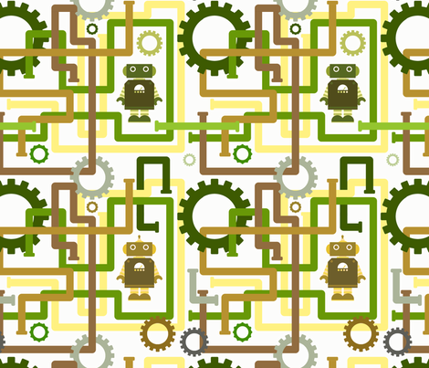 Robots and Pipes - Rusted fabric by jesseesuem on Spoonflower - custom fabric