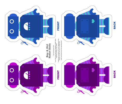 Robot Dolls - Purple and Blue fabric by jesseesuem on Spoonflower - custom fabric