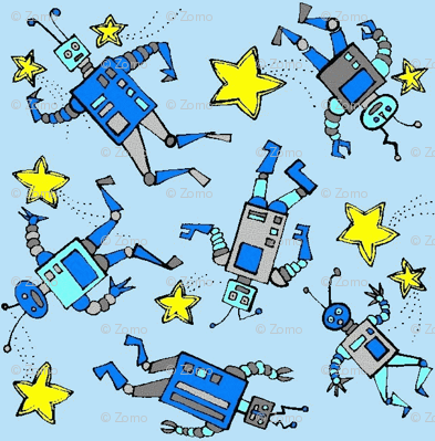 robots in space on blue