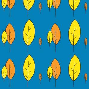 Trees orange yellow on blue