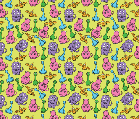 Pastel Dinosaurs fabric by studiofibonacci on Spoonflower - custom fabric