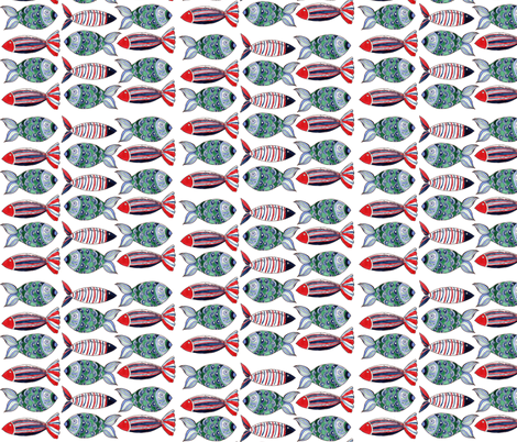 poissons_ribambelle_fond_blanc fabric by nadja_petremand on Spoonflower - custom fabric