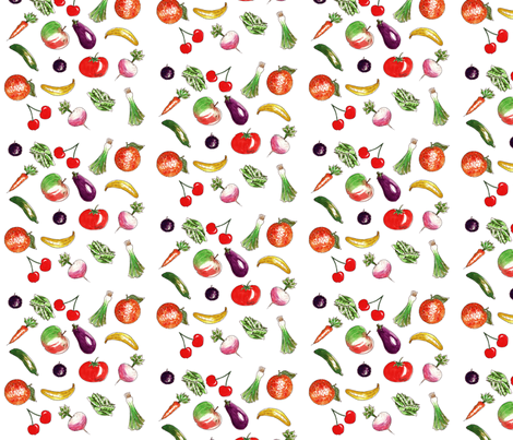 Farandole of fruit and vegetables fabric by nadja_petremand on Spoonflower - custom fabric