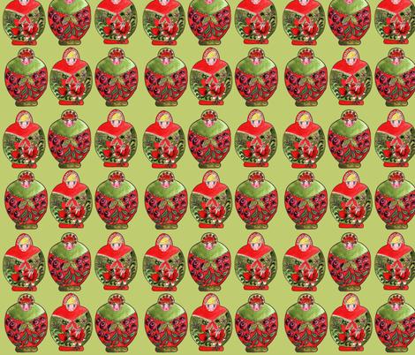 matrioschka_green fabric by nadja_petremand on Spoonflower - custom fabric