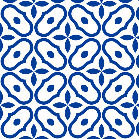Mosaic - White and Deep Blue fabric by inscribed_here on Spoonflower - custom fabric