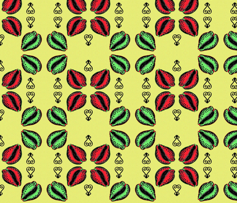 Red & Green Cowries fabric by nalo_hopkinson on Spoonflower - custom fabric