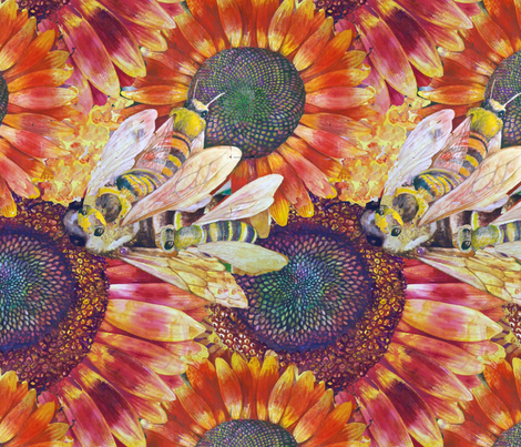 Bees Love Sun Flowers fabric by helenklebesadel on Spoonflower - custom fabric