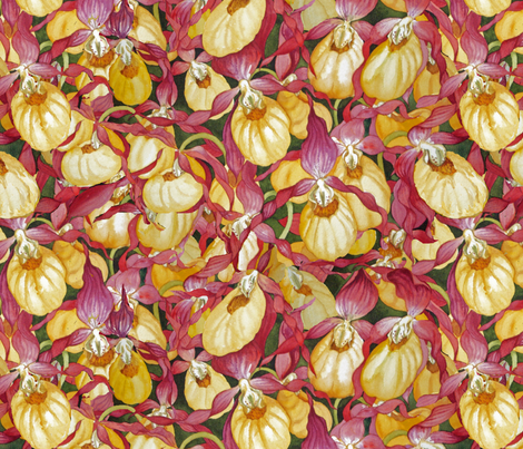Yellow Lady Slippers fabric by helenklebesadel on Spoonflower - custom fabric