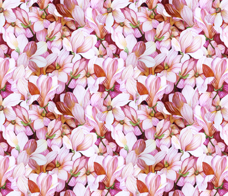 Magnanimous Magnolias fabric by helenklebesadel on Spoonflower - custom fabric