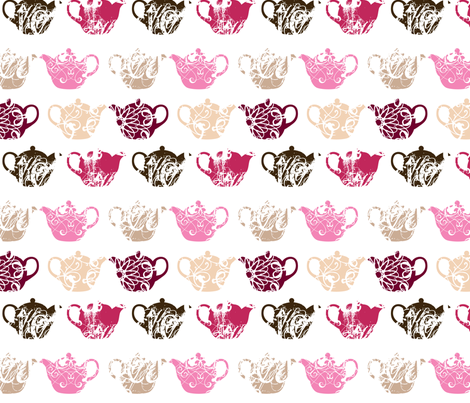 pink teapots fabric by thickblackoutline on Spoonflower - custom fabric