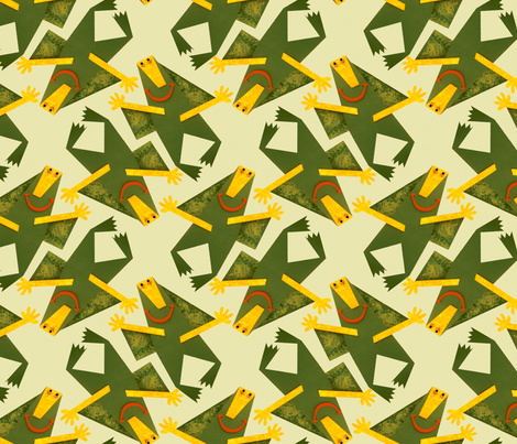 Green Monster Swarm! fabric by raquelrabbit on Spoonflower - custom fabric