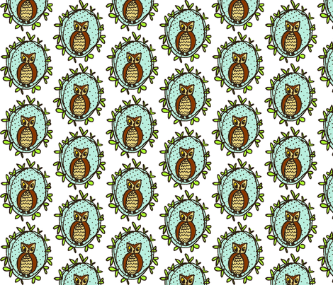 Owl Portrait fabric by twiddlebits on Spoonflower - custom fabric