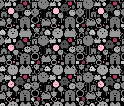 Monsters On the Loose - Black and Pinks fabric by jesseesuem on Spoonflower - custom fabric