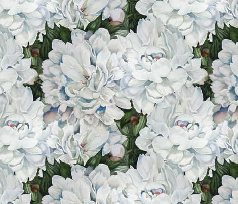 White Peonies fabric by helenklebesadel on Spoonflower - custom fabric