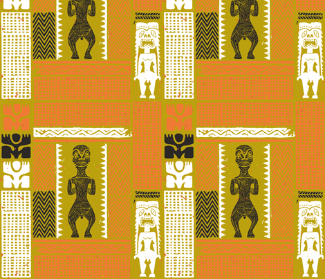 Marquesan Tiki 2b fabric by muhlenkott on Spoonflower - custom fabric